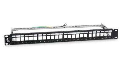 """Патч-панель 19"""", 24 порта, экран, 1U, без модулей Cabeus PLB-24-SH"""