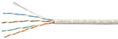 Кабель витая пара UTP (U/UTP), категория 5e, 4 пары 24AWG, одножильный, (305 м) Cabeus UTP-4P-Cat.5e-SOLID-GY