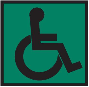 "Табличка с пиктограммой ""Инвалид"" на зелёном фоне (200х200) Hostcall"