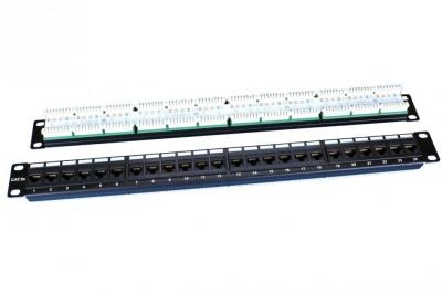 """Патч-панель 19"""", 1U, 24 порта RJ-45, категория 5e, Dual IDC, ROHS, цвет черный Hyperline PP3-19-24-8P8C-C5E-110D"""