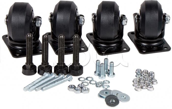 LANMASTER LAN-DC-CB-R+F-SET, Комплект усиленных роликов и ножек для шкафов LANMASTER DCS LANMASTER LAN-DC-CB-R+F-SET