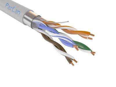 Кабель огнестойкий парной скрутки для СОУЭ, СКС и IP-сетей имеет 4 пары жил диаметром 0,52 мм (24 AWG), категория 5e ParLan F/UTP Cat5e PVCLS нг(A)-FRLS 4х2х0,52 Паритет (305м)