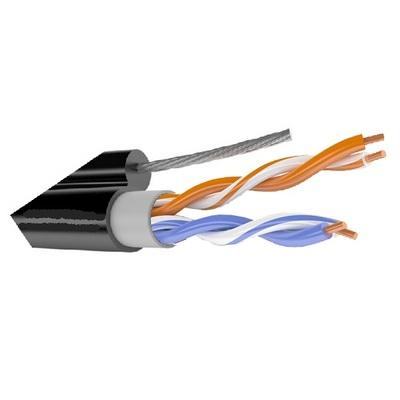 Кабель связи симметричный, для структурированныx сетей, наружной прокладки, с тросом ParLan U/UTP Cat 5e 2x2x0.52 PVC/PEtr Паритет (200 м)