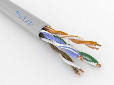 Кабель огнестойкий парной скрутки для СОУЭ, СКС и IP-сетей имеет 4 пары жил диаметром 0,52 мм (24 AWG), категория 5e ParLan U/UTP Cat5e PVCLS нг(A)-FRLS 4x2x0,52 Паритет (305м)