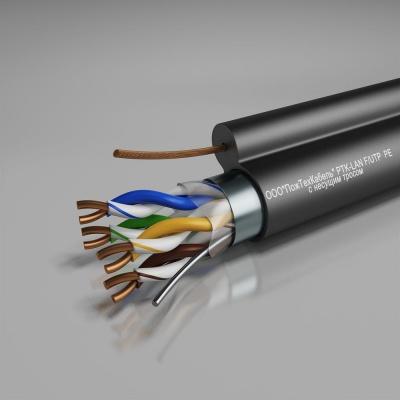 Кабель связи симметричный, для структурированныx сетей, наружной прокладки PTK-LAN F/UTP Cat 5e PE +ТРОС 4x2x0.51 ПожТехКабель (305 м)