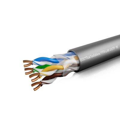 Кабель связи симметричный, для структурированныx сетей, наружной прокладки PTK-LAN U/UTP Cat 5e PE 4x2x0.51 (КПП-ВП 4x2x0.51) ПожТехКабель (305 м)