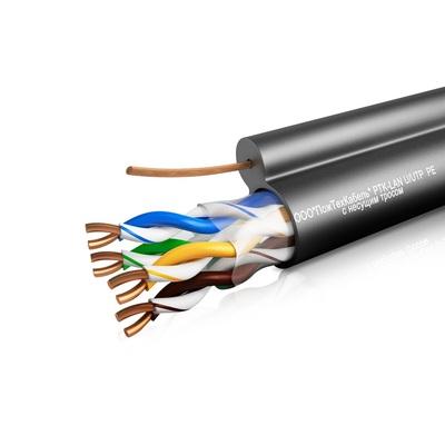 Кабель связи симметричный, для структурированныx сетей, наружной прокладки PTK-LAN U/UTP Cat 5e PE +ТРОС 4x2x0.51 ПожТехКабель (305 м)