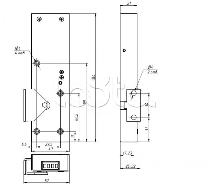Promix-SM323.10.1-01 (серебро), Замок электромеханический с толкателем и датчиком положения двери Promix-SM323.10.1-01 (серебро)