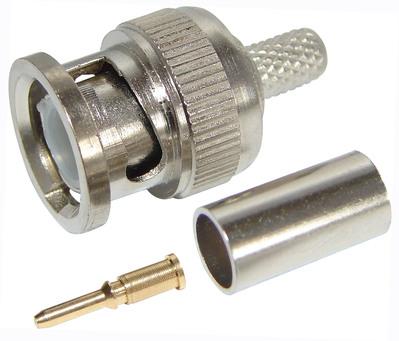 Разъем штекер BNC RG-59 обжим (01-001B) (100шт/уп) REXANT 05-3002