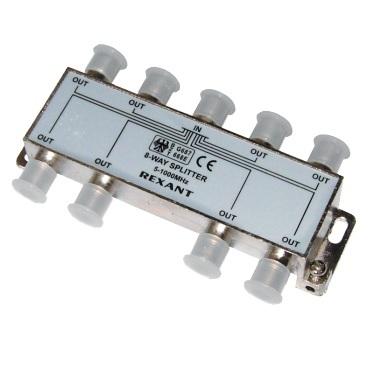 Делитель телевизионный ТВх8 под F разъём 5-1000 МГц (5шт/уп) REXANT 05-6005