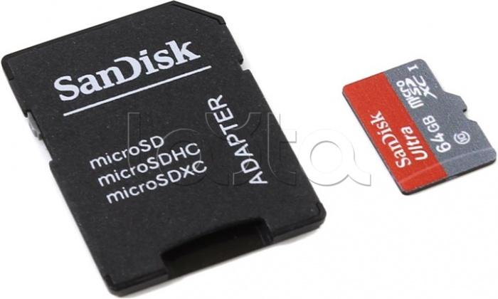 SanDisk SDSDQUAN-064G-G4A, Карта памяти TransFlash 64Gb MicroSDXC class 10 SanDisk (SDSDQUAN-064G-G4A)