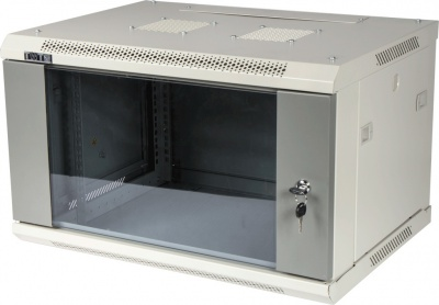 Шкаф настенный серии Pro, 22U 600x600, стеклянная дверь, серый TWT TWT-CBWPG-22U-6x6-GY